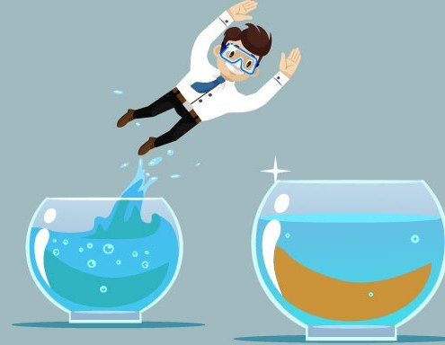 Man jumping from one water bowl to another